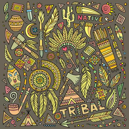 teepee: Tribal abstract native American set of symbols