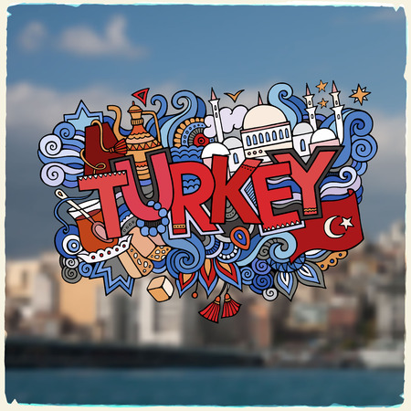 fez: Turkey hand lettering and doodles elements background. Vector blurried illustration