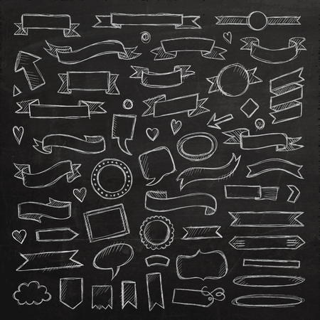 Hand drawn sketch hand drawn elements. Vector chalkboard illustration. Vector