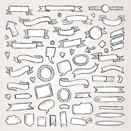 手描きのスケッチの手描きの要素。ベクトルの図。