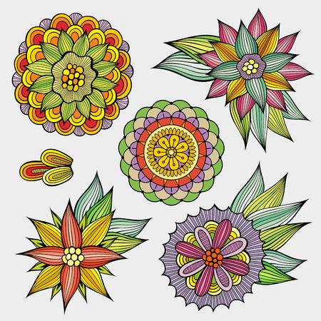 flores vintage: Set of decorative hand drawn vector floral design elements