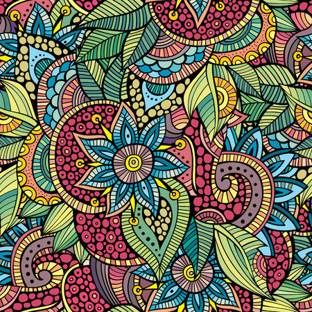 vitrage: Doodles decorative floral ornamental seamless pattern