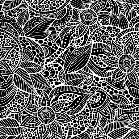 sketchy: Sketchy doodles decorative floral outline ornamental seamless pattern