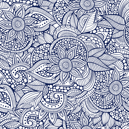 nature beauty: Sketchy doodles decorative floral outline ornamental seamless pattern