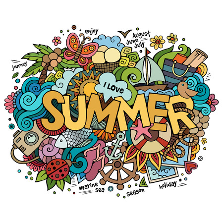 Summer hand lettering and doodles elements. Vector illustration Illustration