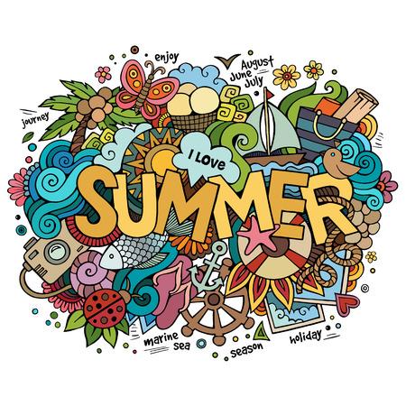 hand lettering: Summer hand lettering and doodles elements. Vector illustration Illustration