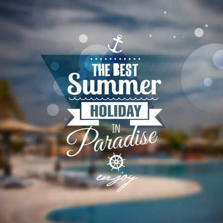 all seasons: Creative graphic message for your summer design.Vector blurred background