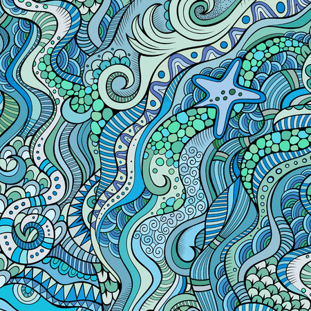 olas de mar: Vida marina marina decorativo ornamental vector de fondo �tnico