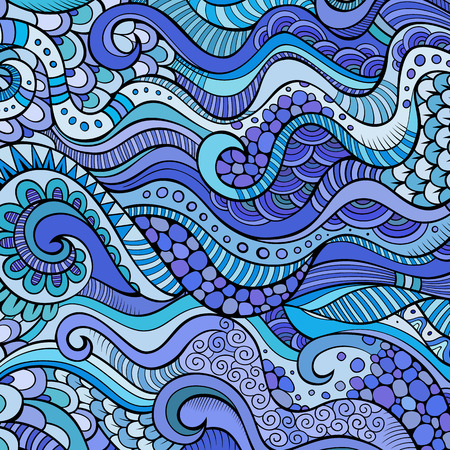 sealife: Decorative marine sealife ornamental ethnic vector background Illustration