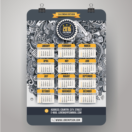 cartoon calendar: Doodles social media Calendar 2016 year design, English, Sunday start Illustration