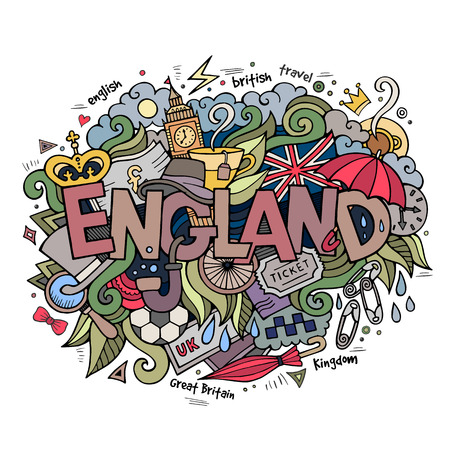 damp: England hand lettering and doodles elements background. Vector illustration
