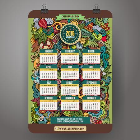 Doodles summer Calendar 2016 year design, English, Sunday start Vector