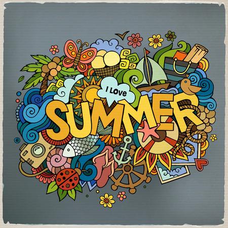 verano: Letras de la mano de Verano y doodles elementos. Ilustraci�n vectorial