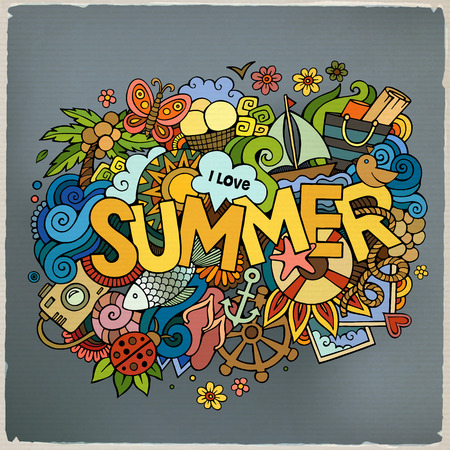 Summer hand lettering and doodles elements. Vector illustration Çizim