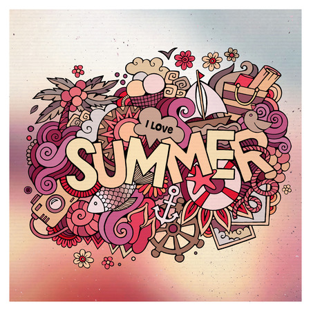 aug: Summer hand lettering and doodles elements. Vector illustration Illustration