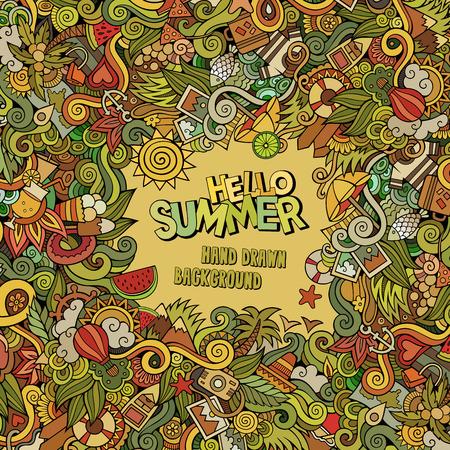 helado caricatura: Doodles abstracto del vector del marco decorativo verano. dise�o de la tarjeta de felicitaci�n Vectores
