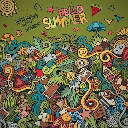 cartoon beach: Doodles abstract decorative summer vector frame. greeting card design