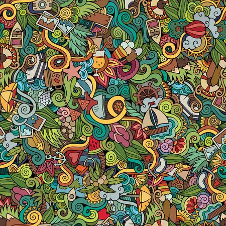 シームレスな抽象柄夏と旅行の背景  イラスト・ベクター素材