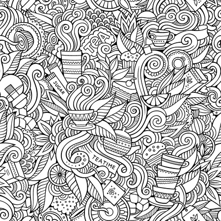 tea and biscuits: Seamless decorative tea doodles abstract pattern background