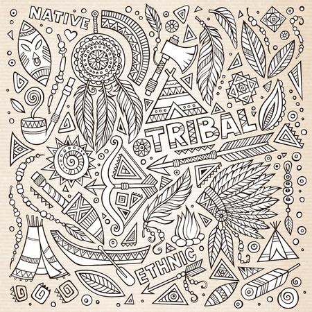 native american tomahawk: Tribal abstract native American set of symbols