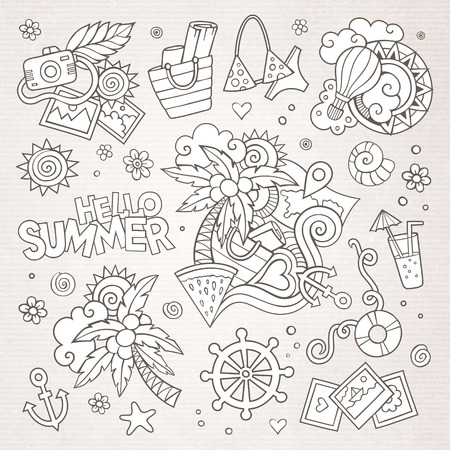 flops: Summer and vacation hand drawn vector symbols and objects
