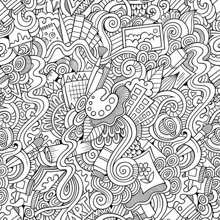 Cartoon vector doodles hand drawn art and craft seamless pattern Çizim