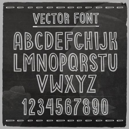 Hand drawn stripe font. Vector chalkboard alphabet. Vector