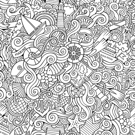 paddle wheel: Seamless abstract pattern sealife and marine background