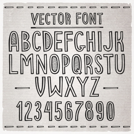 catroon: Hand drawn stripe slim font. Vector alphabet.