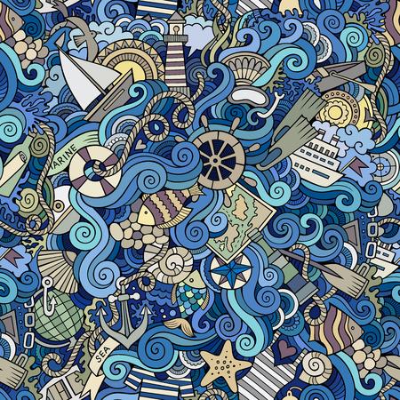 Naadloze abstracte patroon nautische en mariene achtergrond Stock Illustratie