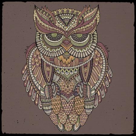 buhos: Cabeza ornamental abstracto decorativo b�ho. Ilustraci�n vectorial