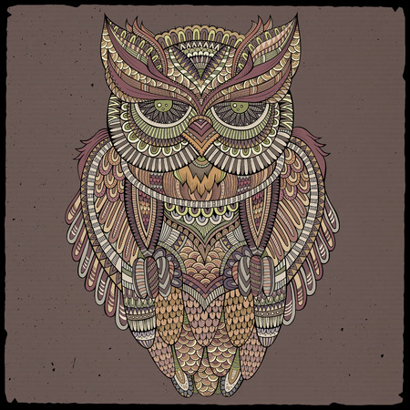 eagle owl: Decorative abstract ornamental Owl head. Vector illustration