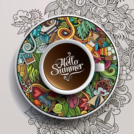 turismo: Illustrazione vettoriale con una tazza di caffè e disegnati a mano estivi acquerello scarabocchi su un piattino e lo sfondo