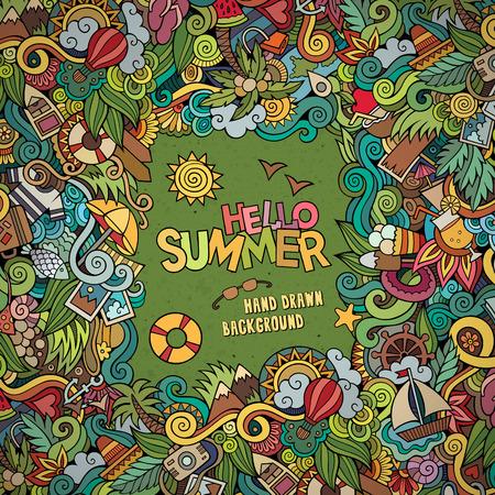 いたずら書きは、装飾的な夏ベクトル フレームを抽象化します。グリーティング カード デザイン