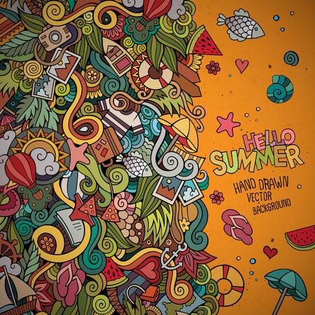 Doodles abstract decorative summer vector frame. greeting card design