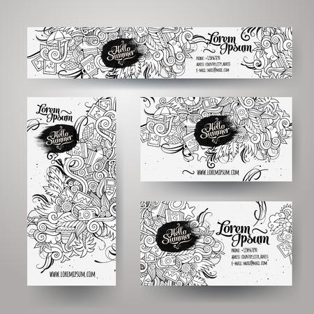 estate: Modelli vettoriali identità aziendale stabiliti con i doodles abbozzato tema di estate Vettoriali