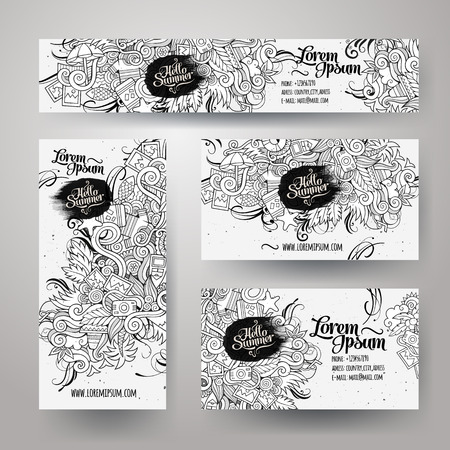 Corporate Identity vector templates set with doodles sketchy summer theme Illustration