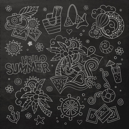 watermelon boat: Summer and vacation chalkboard hand drawn vector symbols and objects Illustration