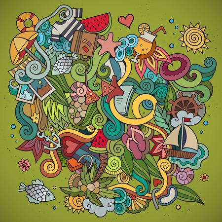doodle art: Doodles abstract decorative summer vector frame. greeting card design