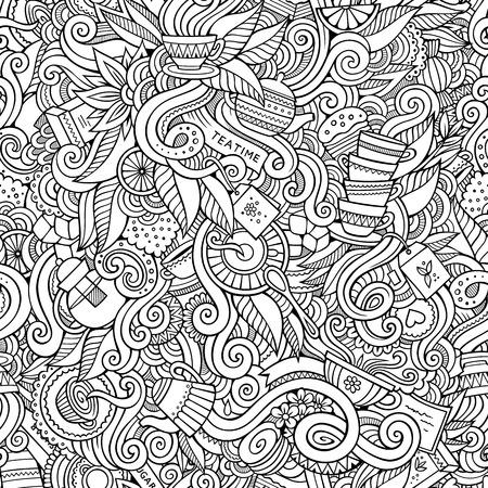 Nahtloses dekoratives Tee Doodles abstrakte Muster Hintergrund