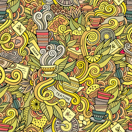 teatime: Seamless decorative tea doodles abstract pattern background