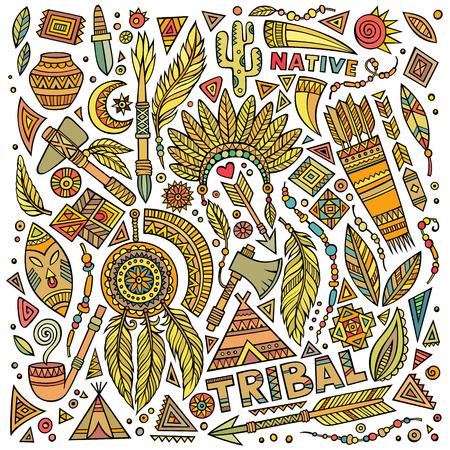 teepee: Tribal abstract ethnic native American set of symbols Illustration
