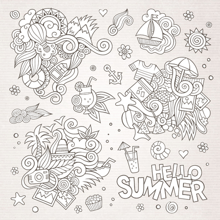 Summer and vacation hand drawn vector symbols and objects