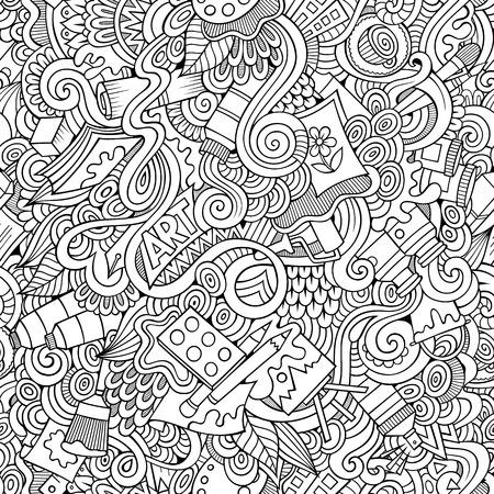 Cartoon doodles vecteur dessinés à la main et de l'artisanat seamless Banque d'images - 40811439