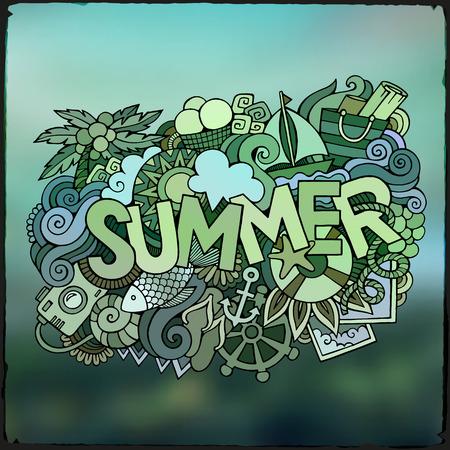 Summer hand lettering and doodles elements. Vector blurred illustration Vector