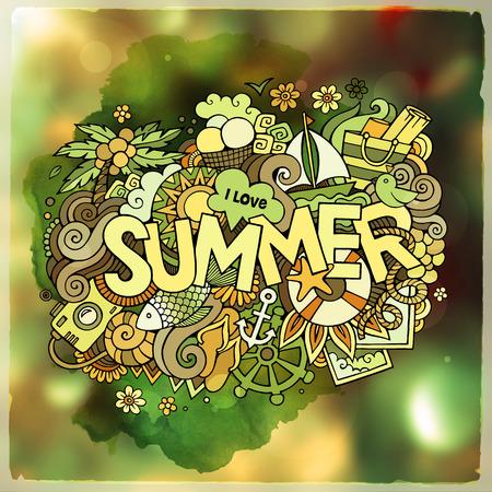 feuille arbre: lettrage à la main d'été et les éléments de griffonnages. Vector illustration floue Illustration