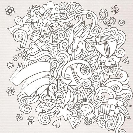 kunst: Doodles Zusammenfassung dekorative Sommer Skizze Vektor-Hintergrund Illustration