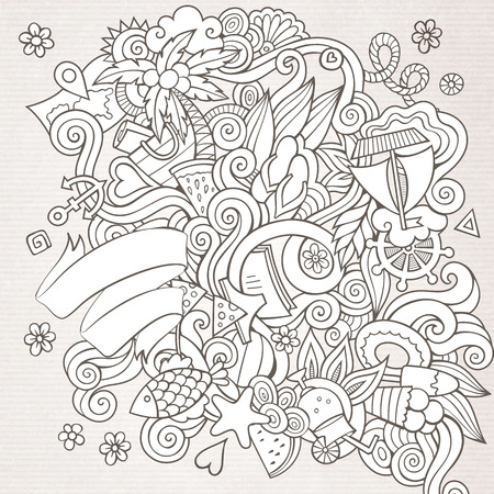 Doodles abstract decorative summer sketch vector background