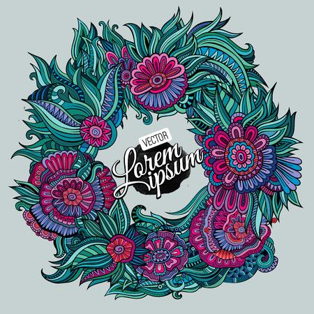 Vector Sommer Kranz aus Blumen und Blättern Karte