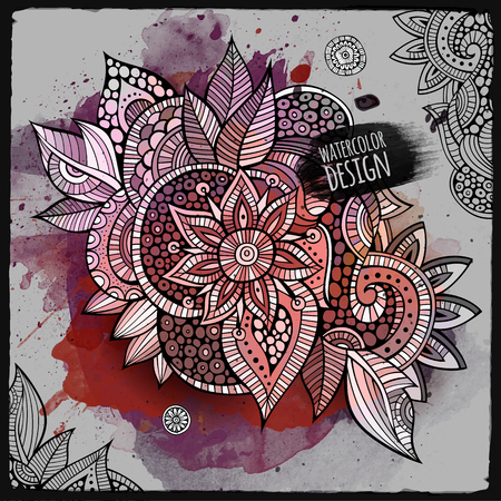 Vector abstract watercolor paint abstract floral design Illustration